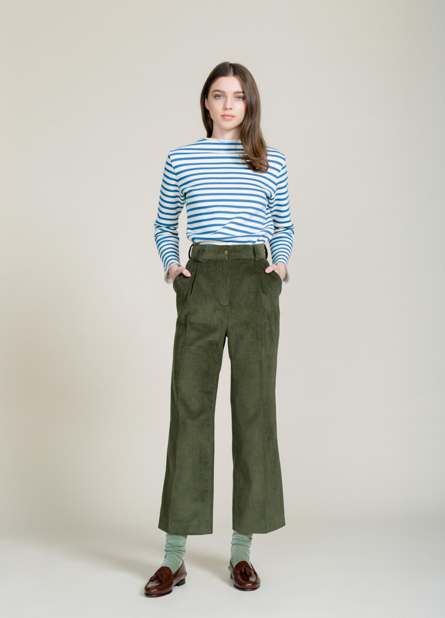 green corduroy pants