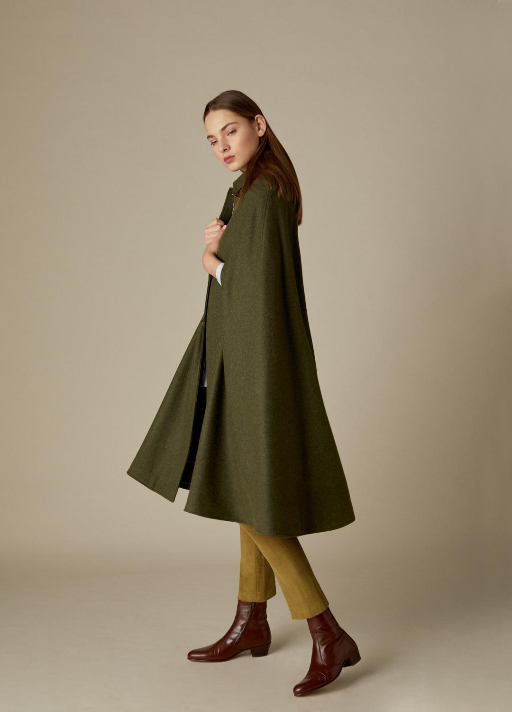 Capa loden verde larga Nora paño 100% lana-2
