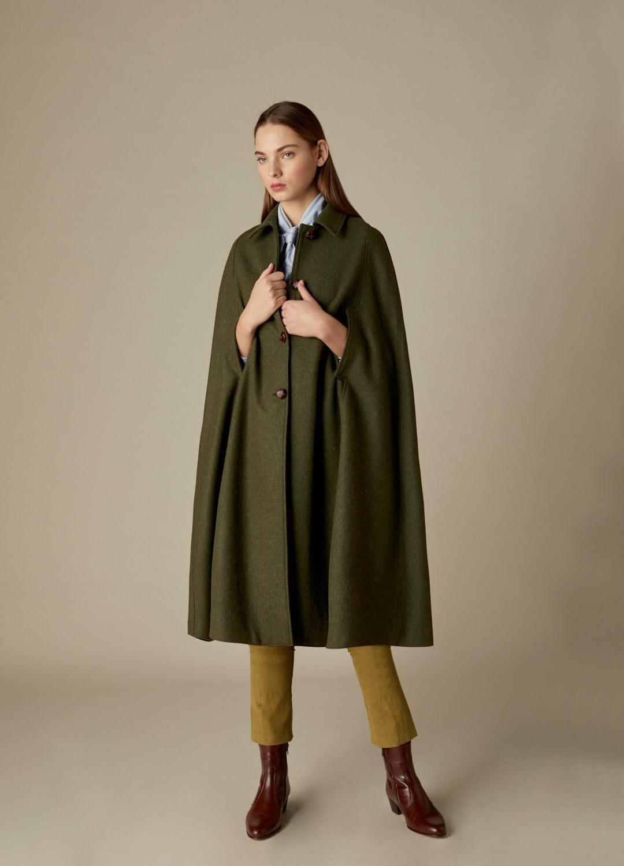 Capa loden verde larga Nora paño 100% lana-0