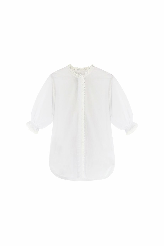 Blusa Flora Antique en color blanco de manga corta abullonada-1
