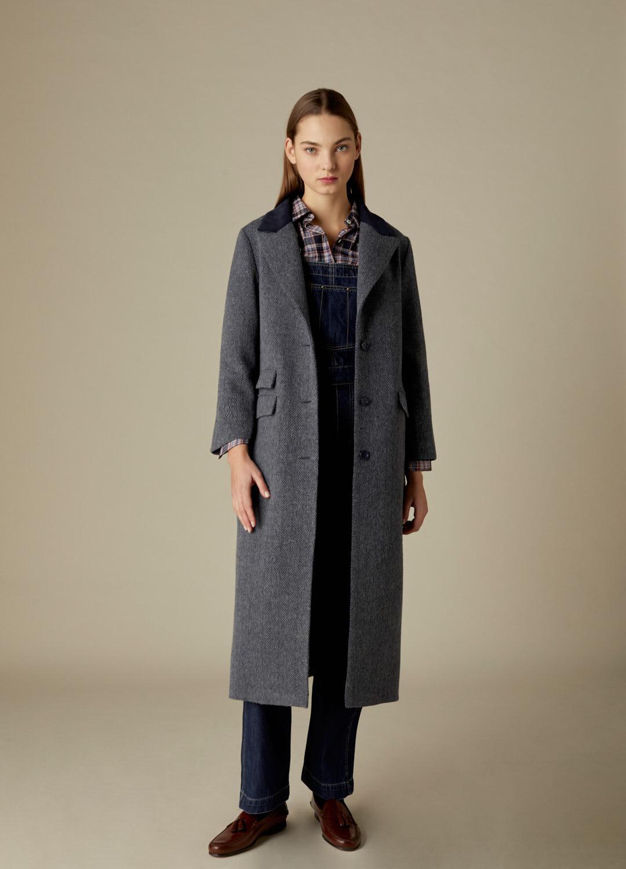 Abrigo espiga azul Aurore  paño 100% lana con detalles de terciopelo-1