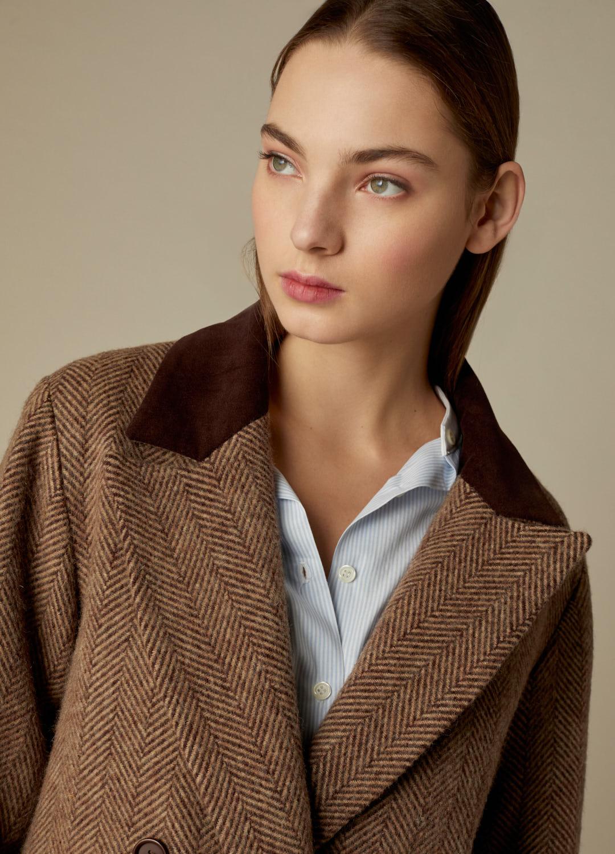 Abrigo espiga marrón Harriet paño 100% lana con detalles de terciopelo-4