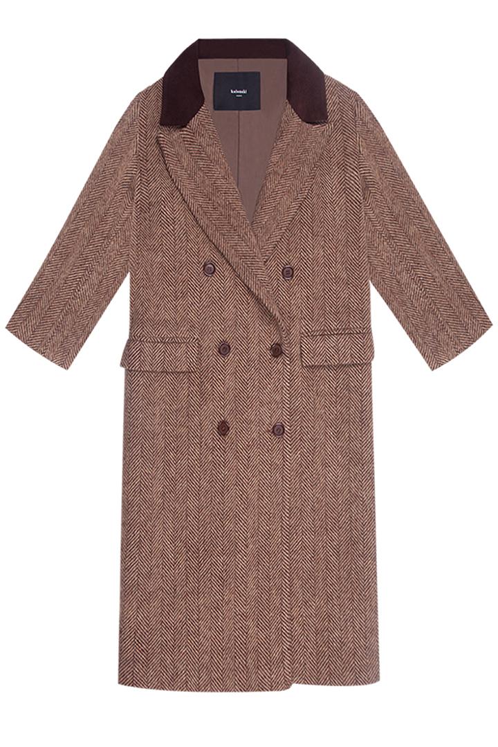 Abrigo espiga marrón Harriet paño 100% lana con detalles de terciopelo-0