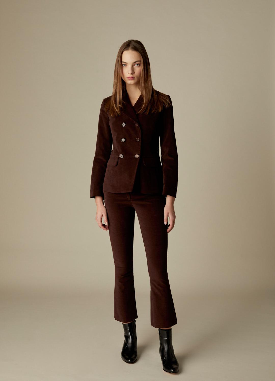 Americana cruzada de terciopelo de algodón marrón Florence-2