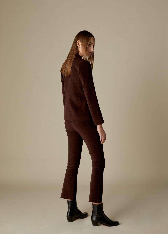 Americana cruzada de terciopelo de algodón marrón Florence-3