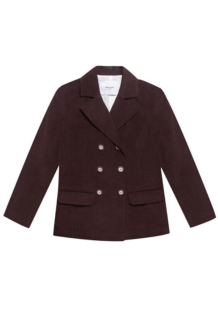 Americana cruzada de terciopelo de algodón marrón Florence-1