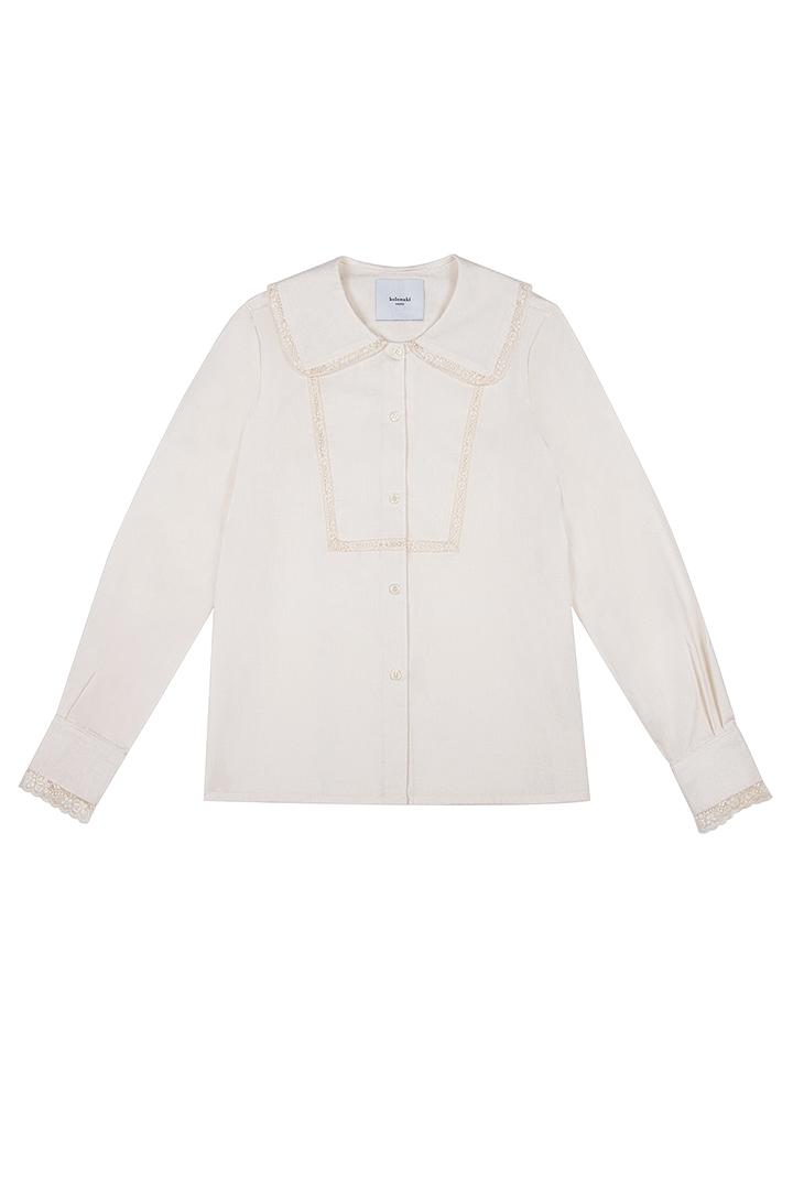 Blusa de algodón crudo Regina con detalles de puntilla-1