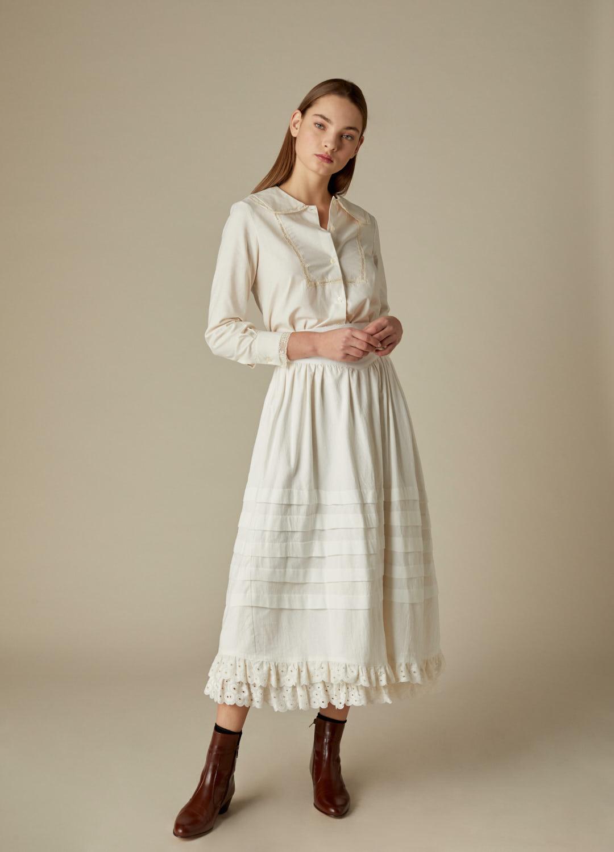 Blusa de algodón crudo Regina con detalles de puntilla-2-1