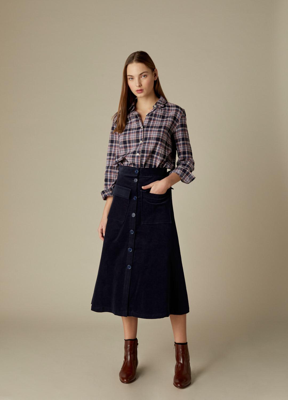 Camisa de algodón fruncida con estampado de cuadros Grace-2