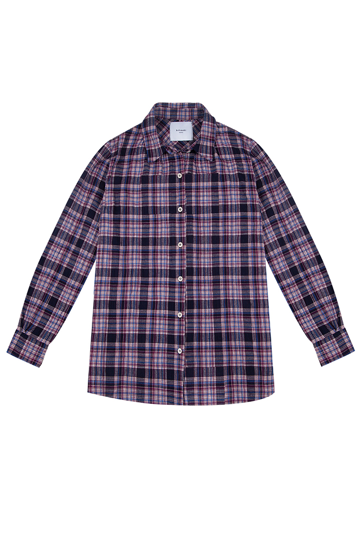 Camisa de algodón fruncida con estampado de cuadros Grace-0