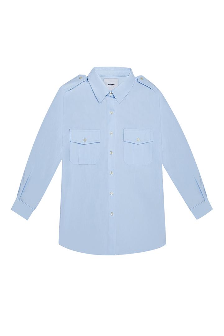 Camisa militar de algodón en color azul cielo Saige-0