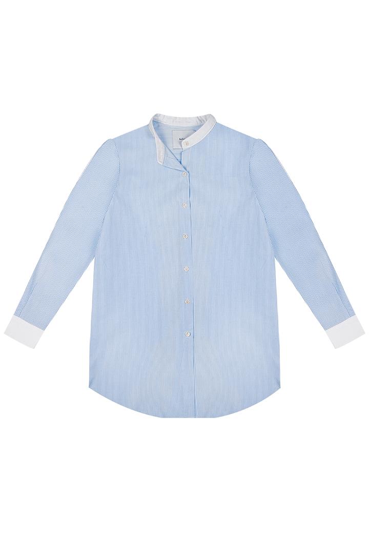Camisa de algodón azul cielo Elina con puños y cuello en contraste-0