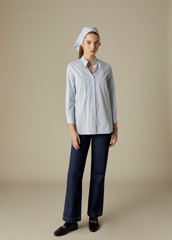 Camisa Clarise de algodón con estampado de cuadros vichy y cuello mao-2