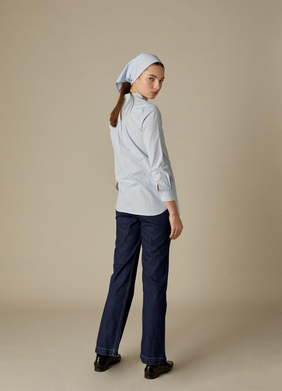 Camisa Clarise de algodón con estampado de cuadros vichy y cuello mao-3