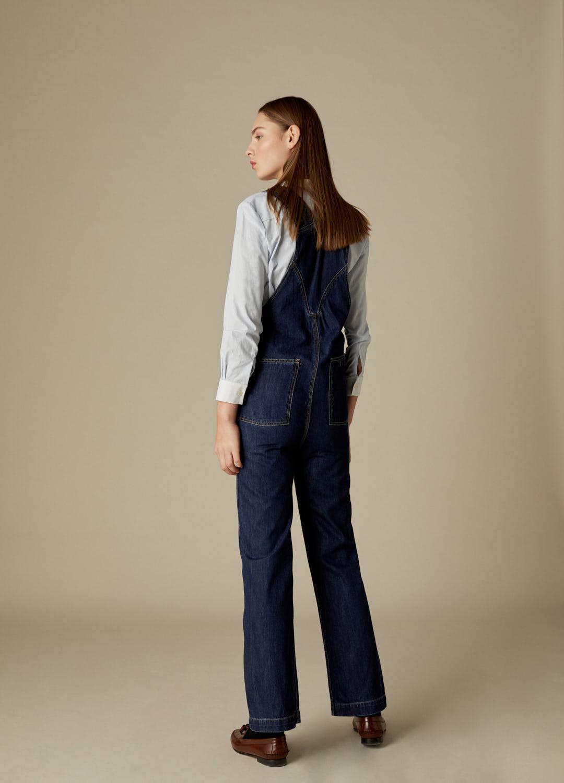Camisa Clarise de algodón con estampado de cuadros vichy y cuello mao-4