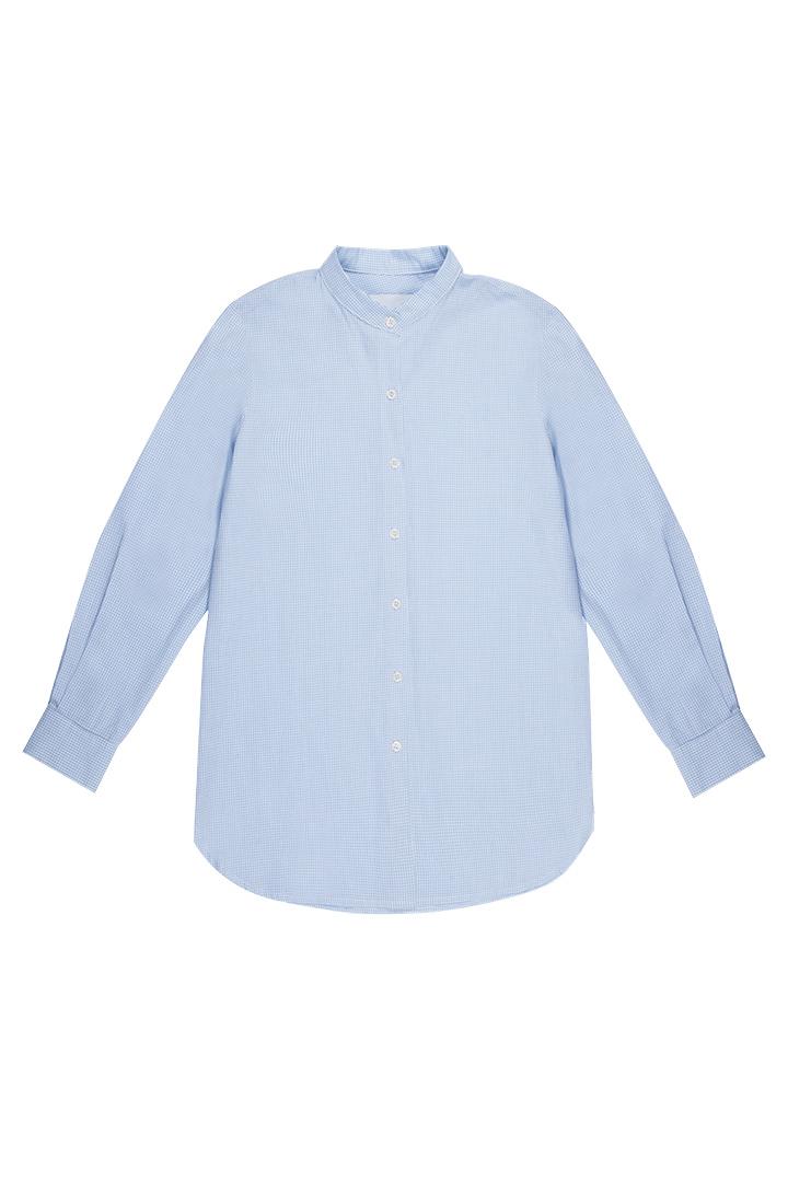 Camisa Clarise de algodón con estampado de cuadros vichy y cuello mao-7