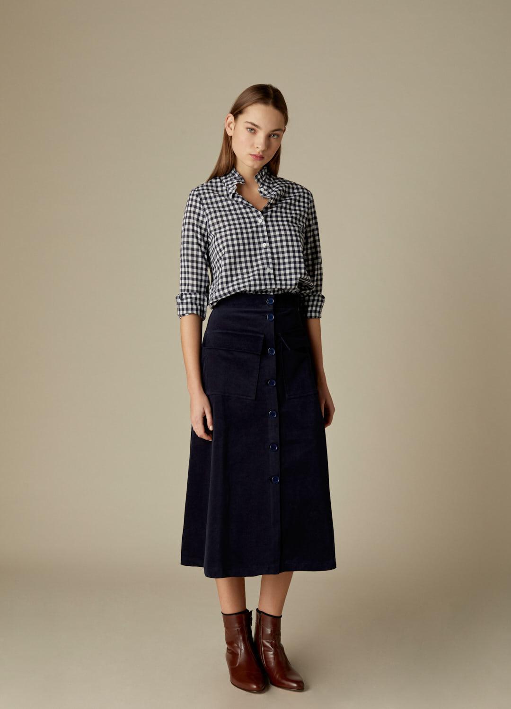 Camisa Bryony de algodón con estampado de cuadros vichy marino-2