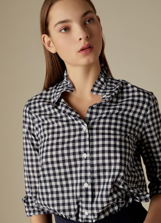 Camisa Bryony de algodón con estampado de cuadros vichy marino-4