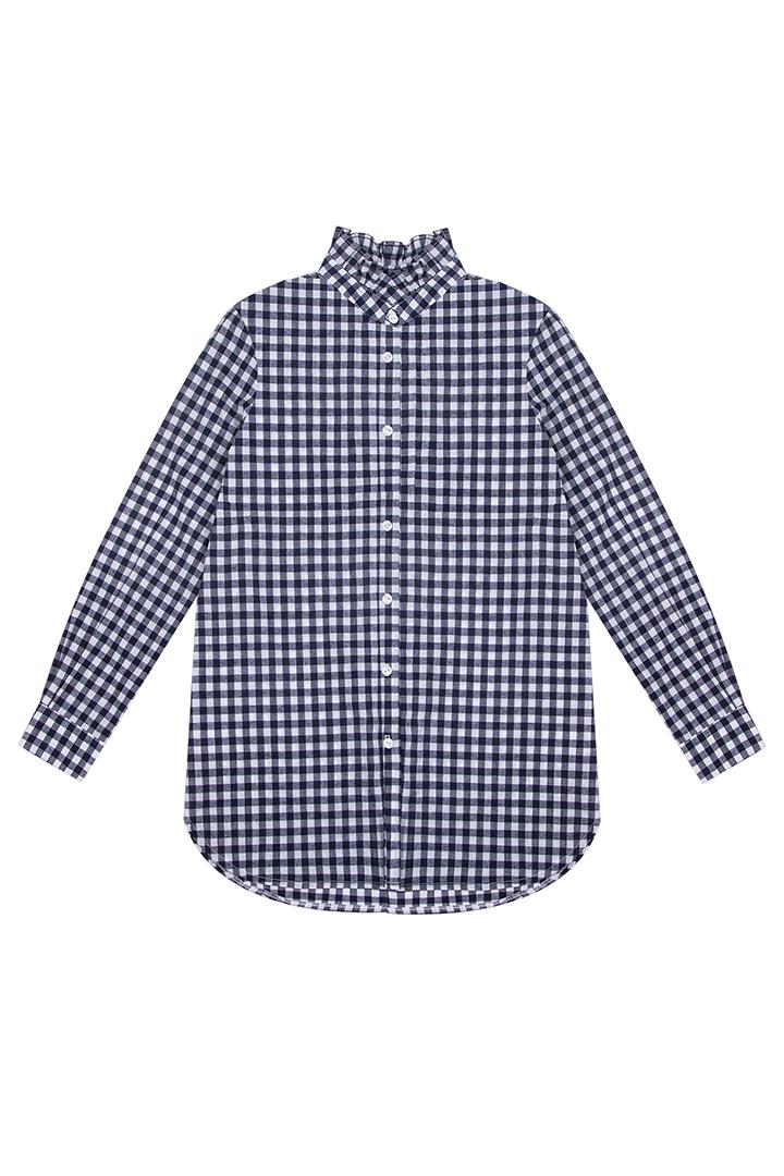 Camisa Bryony de algodón con estampado de cuadros vichy marino-1