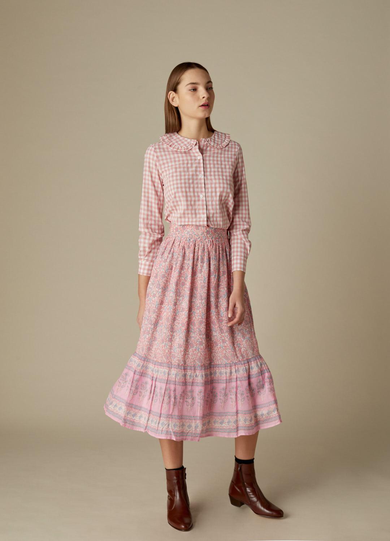 Camisa Masie de algodón con cuadros vichy rosa y cuello bebé-2