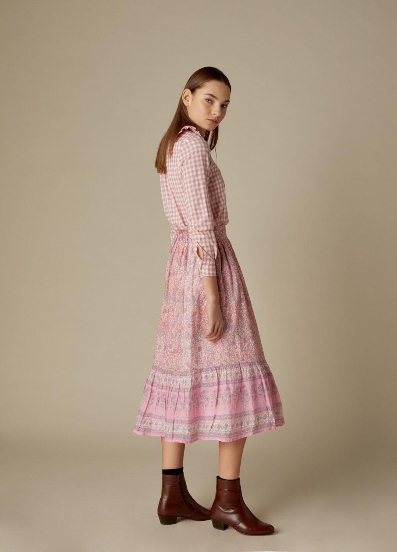 Camisa Masie de algodón con cuadros vichy rosa y cuello bebé-3