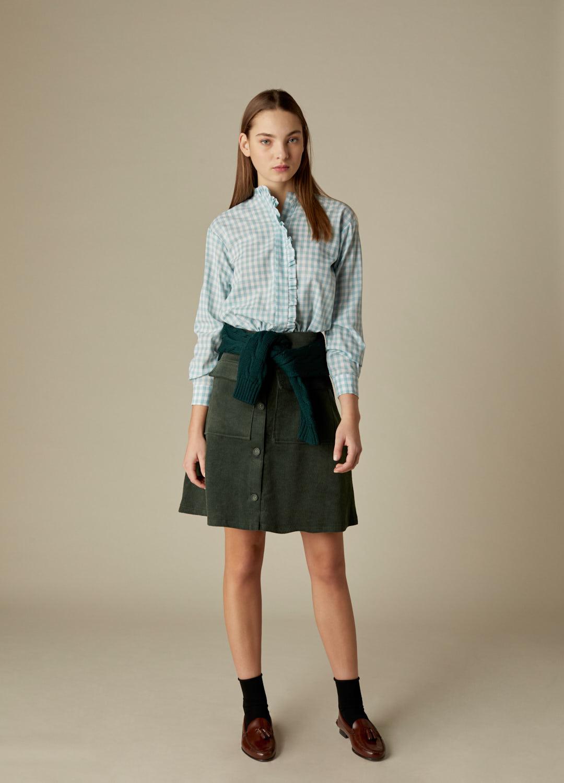 Camisa Lola de algodón con estampado de cuadros vichy verde-2