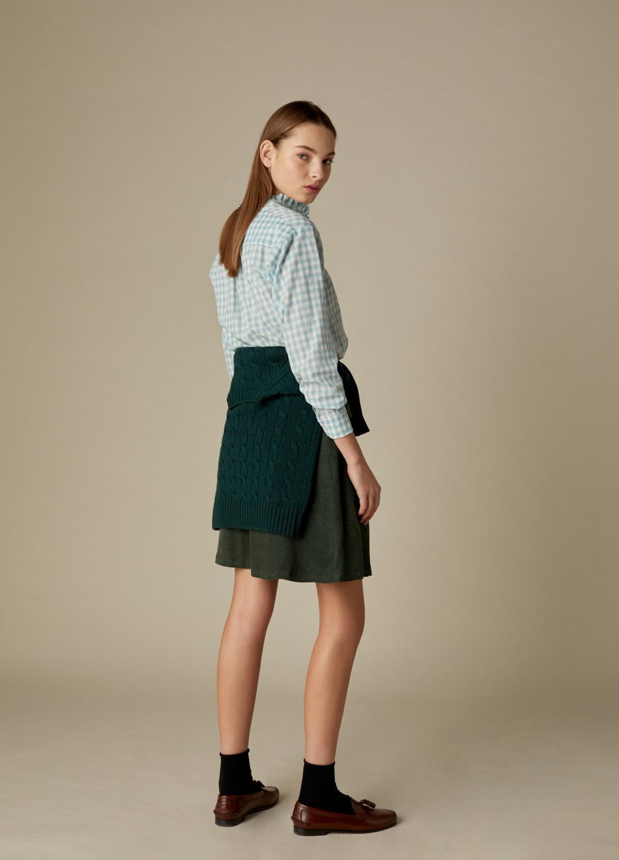 Camisa Lola de algodón con estampado de cuadros vichy verde-3