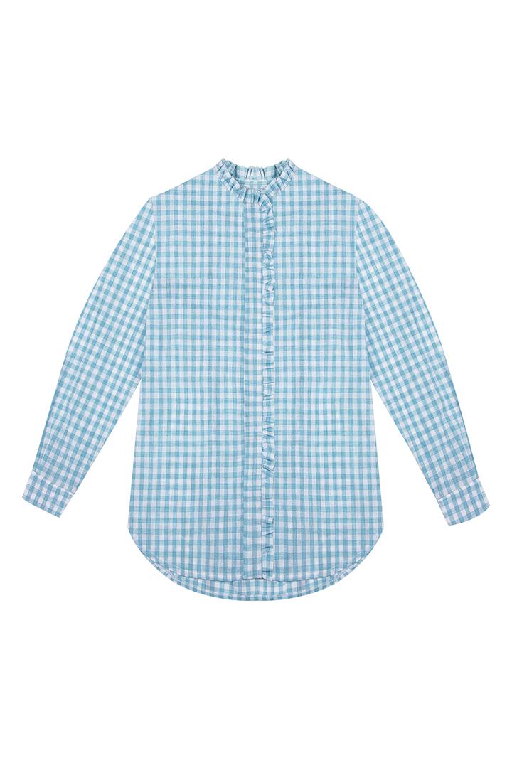 Camisa Lola de algodón con estampado de cuadros vichy verde-1
