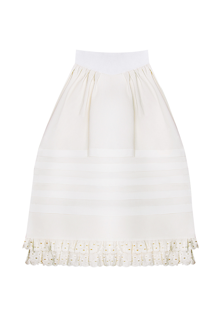 Falda de lorzas de algodón crudo Queenie con puntilla bordada-1
