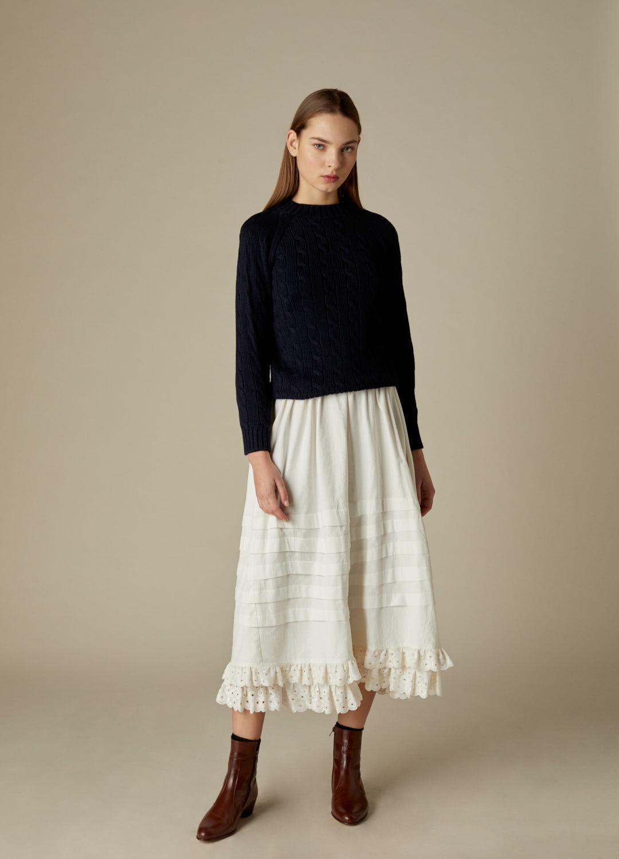 Falda de lorzas de algodón crudo Queenie con puntilla bordada-2-2