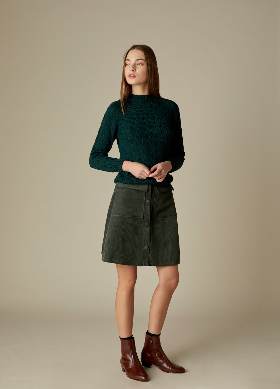 Falda corta de pana verde con botones Bonnie-2