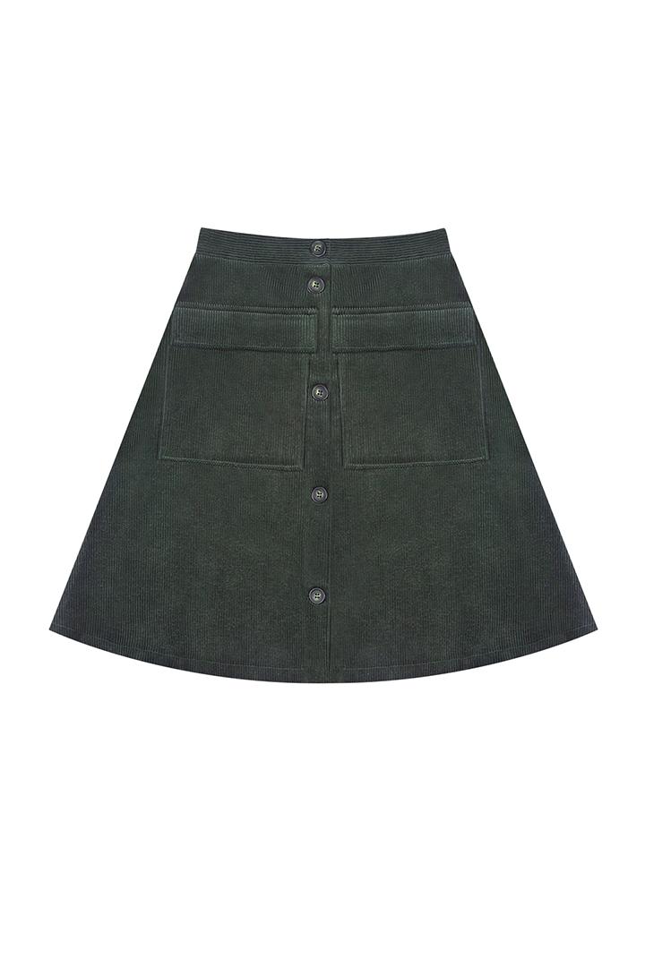 Falda corta de pana verde con botones Bonnie-1