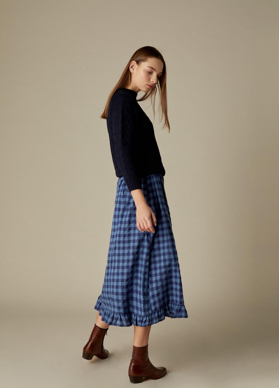 Falda de cuadros azul y marino Gilliande viscosa-2