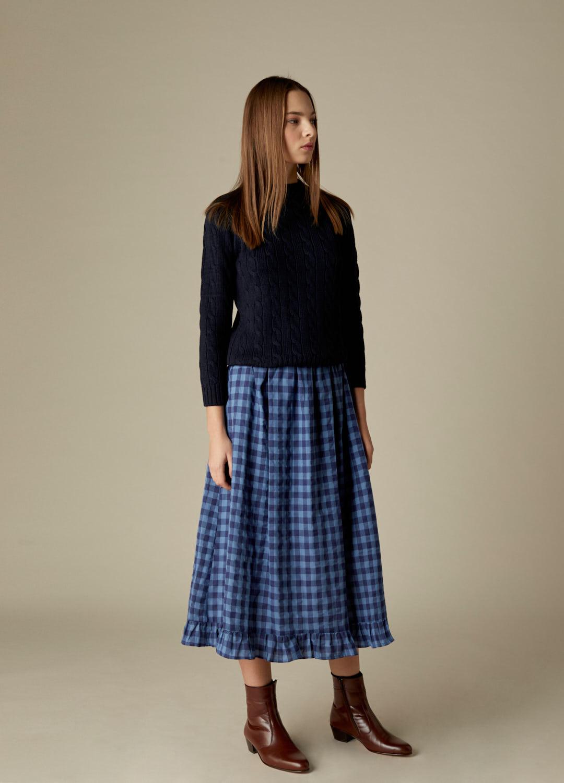 Falda de cuadros azul y marino Gilliande viscosa-3