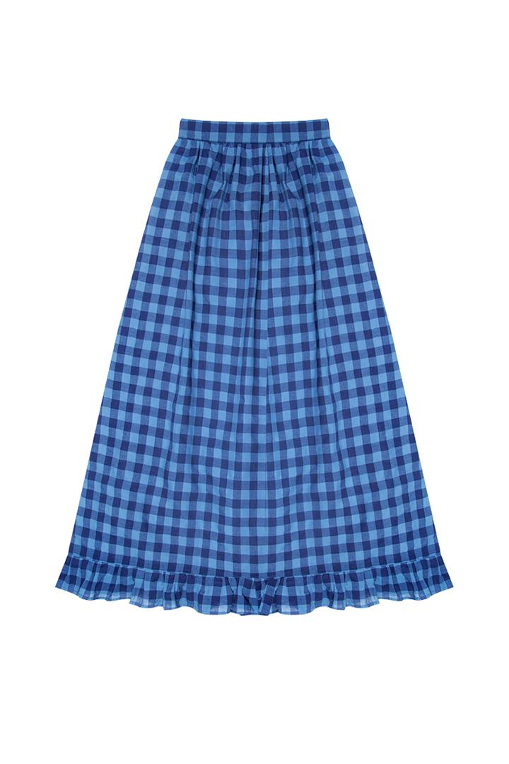 Falda de cuadros azul y marino Gilliande viscosa-1