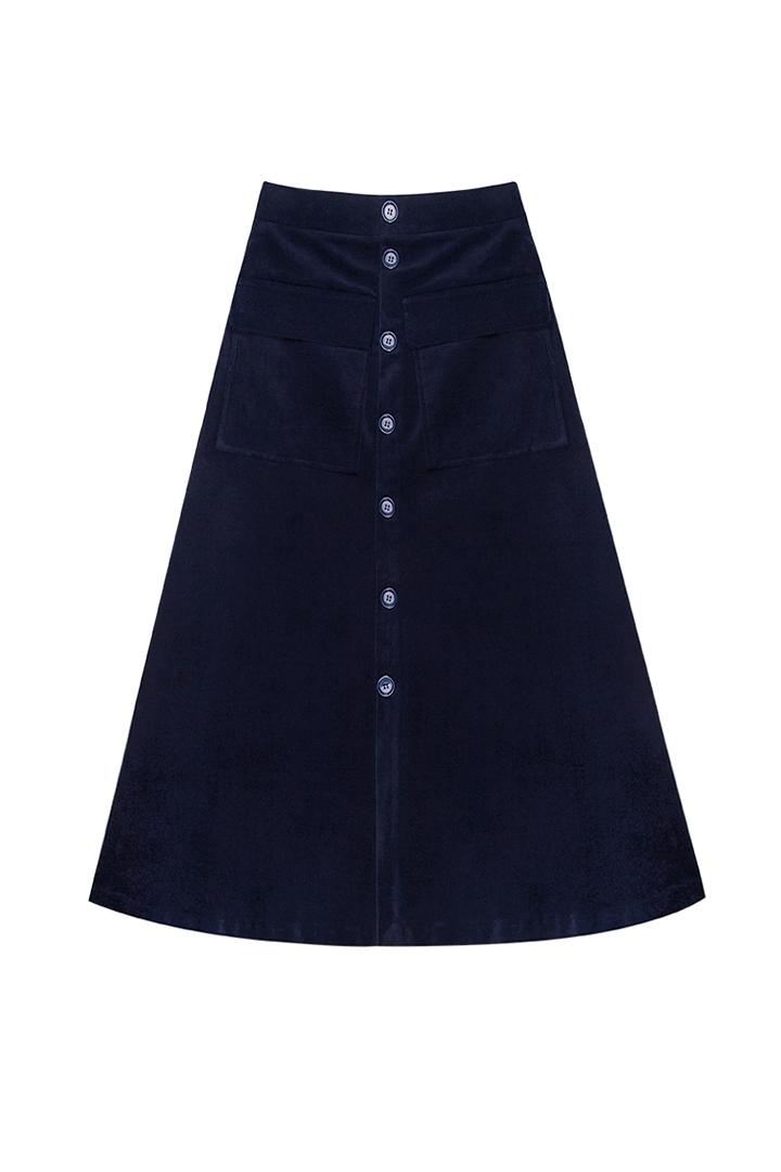 Falda de terciopelo de algodón marino Isola-0