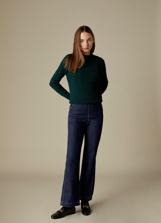 Jersey verde de ochos 100% lana Veda-2