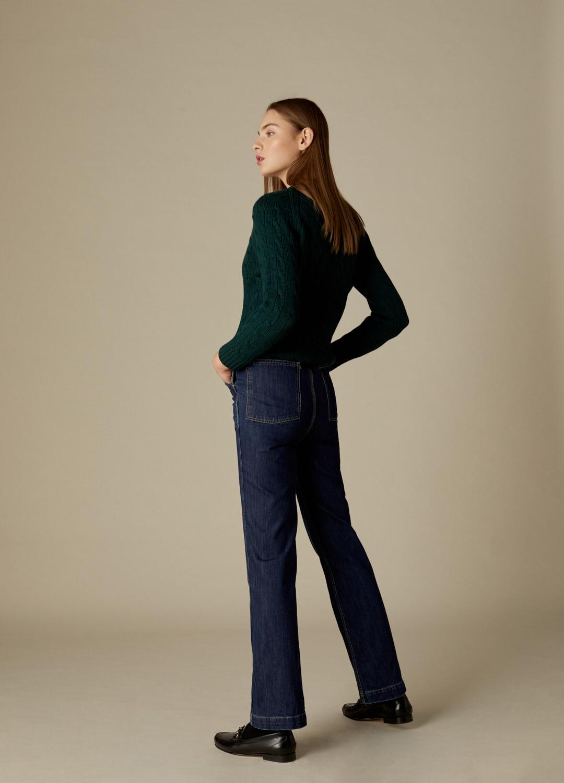 Jersey verde de ochos 100% lana Veda-3