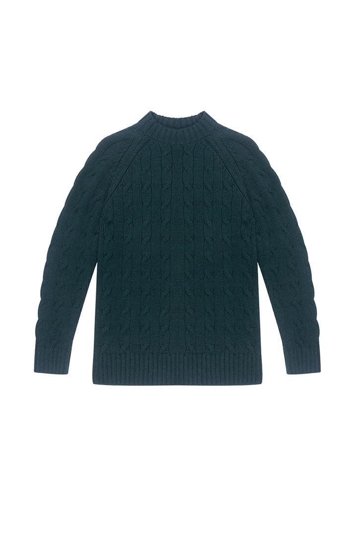 Jersey verde de ochos 100% lana Veda-1