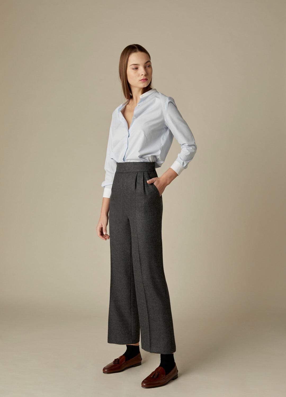 Pantalón gris tiro alto Wallis paño 100% lana con bolsillos laterales-2