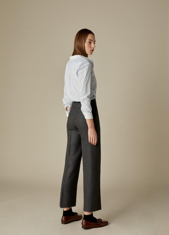 Pantalón gris tiro alto Wallis paño 100% lana con bolsillos laterale-3
