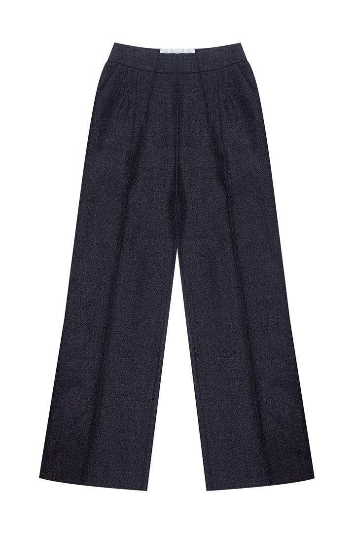 Pantalón gris tiro alto Wallis paño 100% lana con bolsillos laterales-1