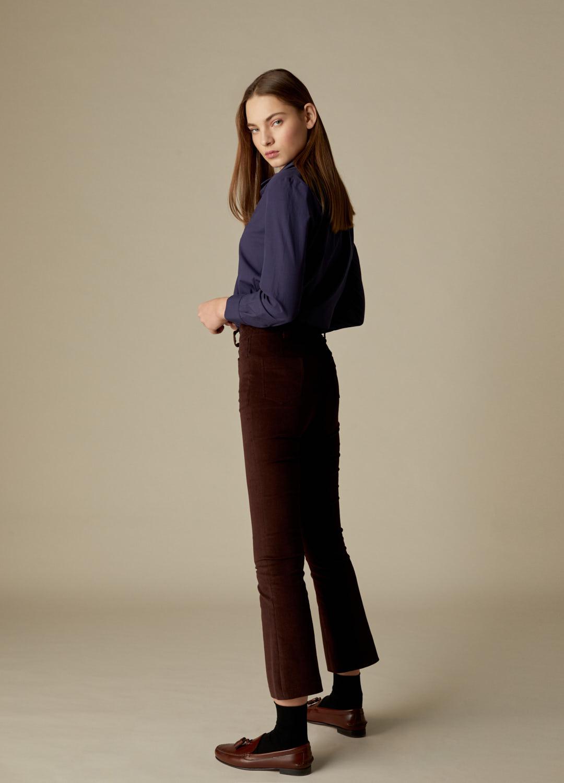 Pantalón de terciopelo de algodón marrón Payton-3