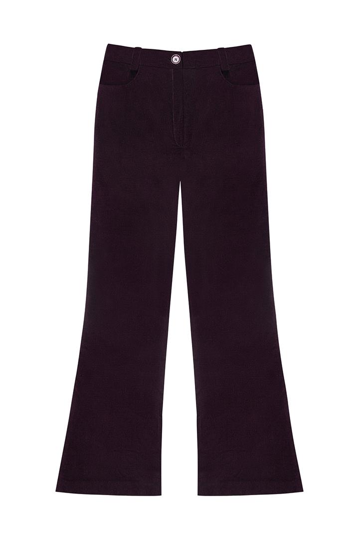 Pantalón de terciopelo de algodón marrón Payton-1