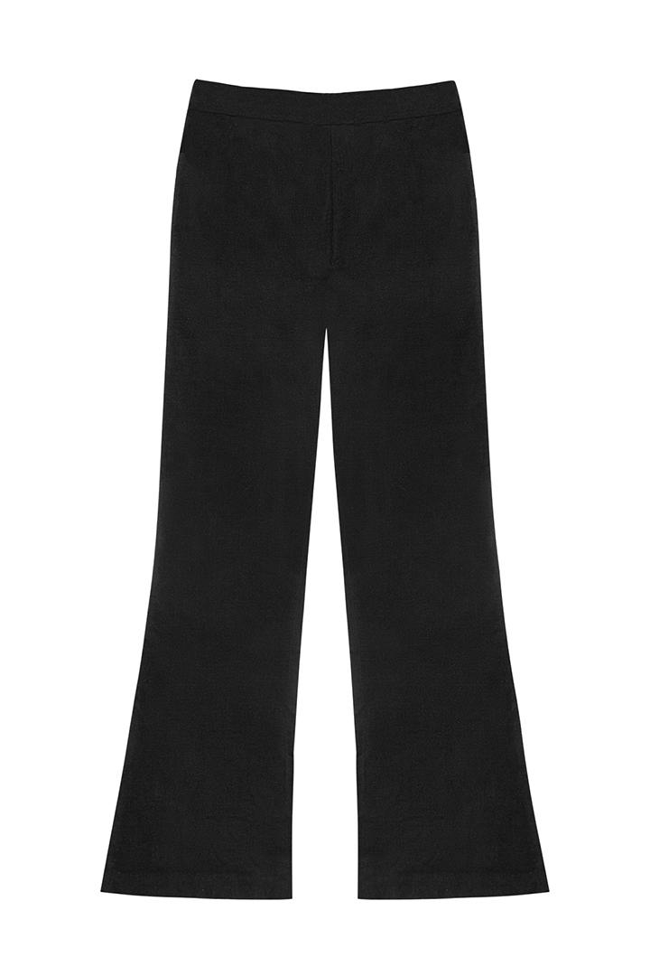 Pantalón de terciopelo de algodón negro Heather-1