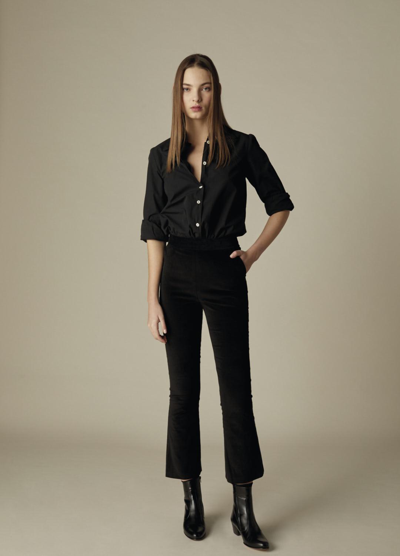 Pantalón de terciopelo de algodón negro Heather-2-1