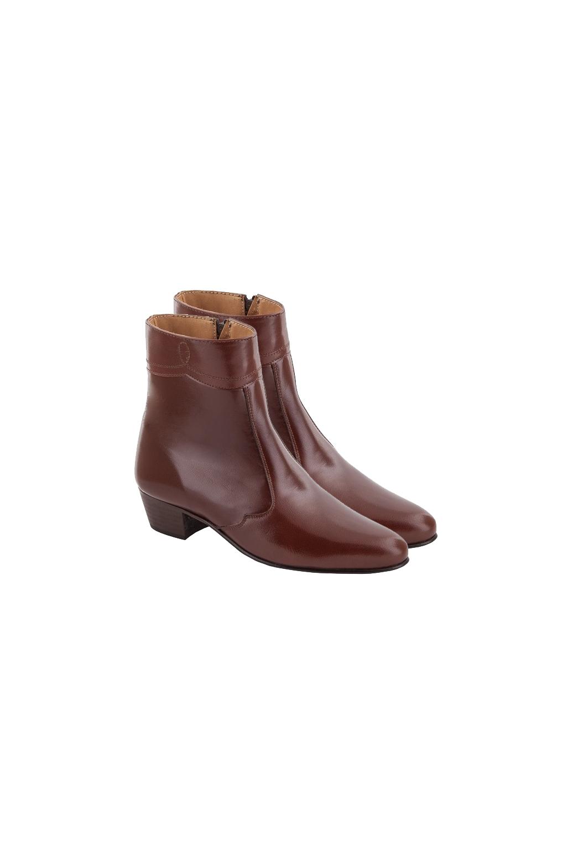 Botines Adeline marrón de piel de cabra y tacón Adeline-1