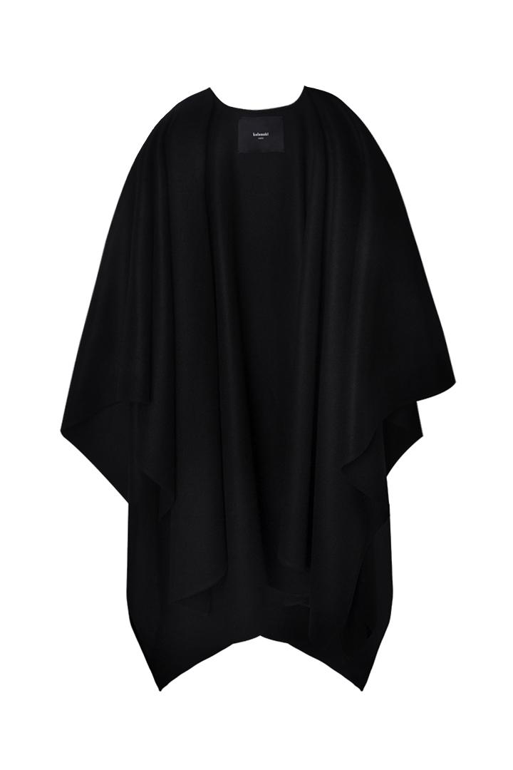 Chal negro merino Teagan paño 100% lana merino española-1