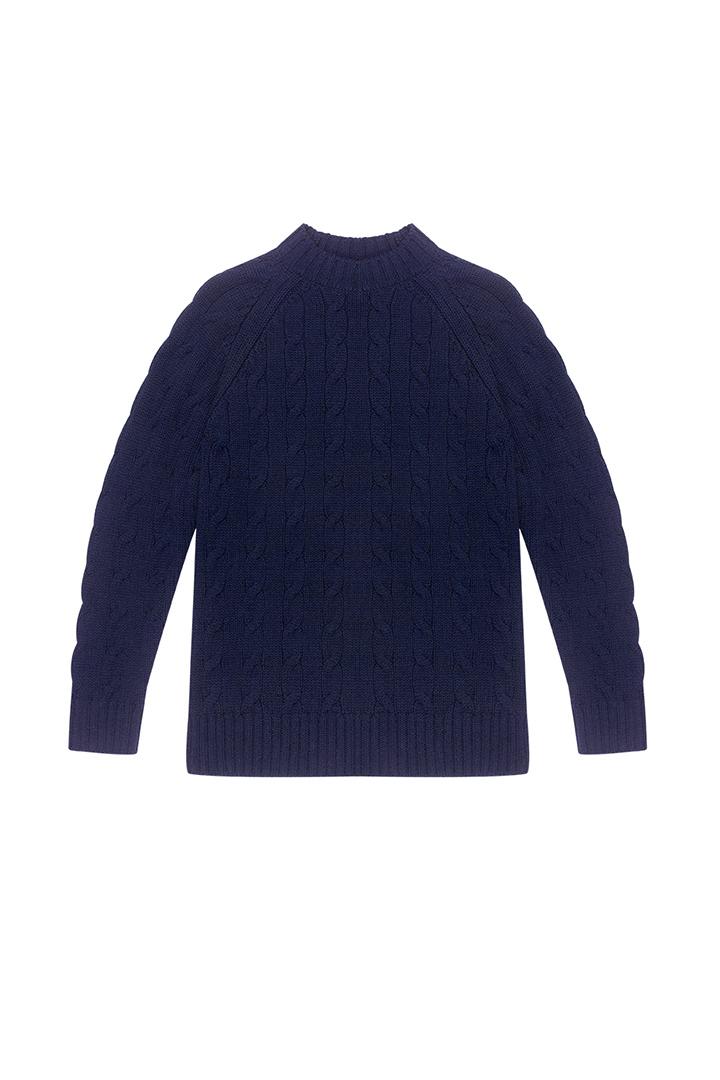 Jersey marino de ochos 100% lana Veda-1