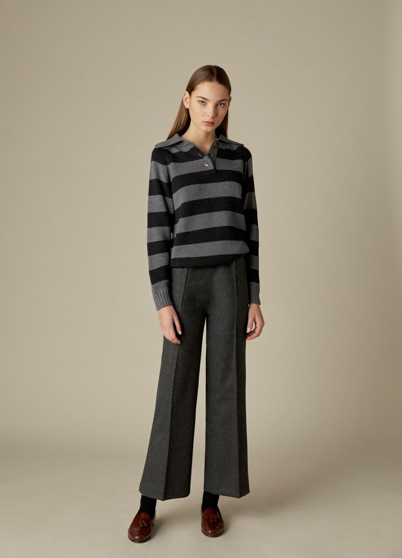 Jersey gris con estampado de rayas 100% lana Haley-3